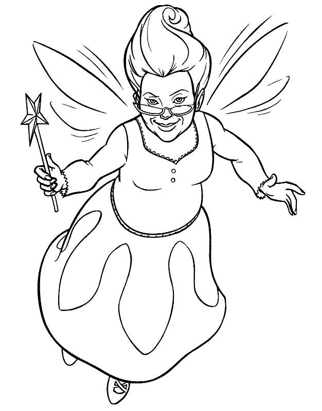 Coloriage Shrek: Marraine la bonne fée dessin gratuit à imprimer