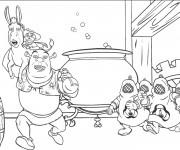 Coloriage et dessins gratuit Shrek s'enfuit avec l'âne à imprimer