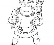 Coloriage Shrek tient l'âne en main