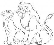 Coloriage Le Roi Lion et Nala se regardent