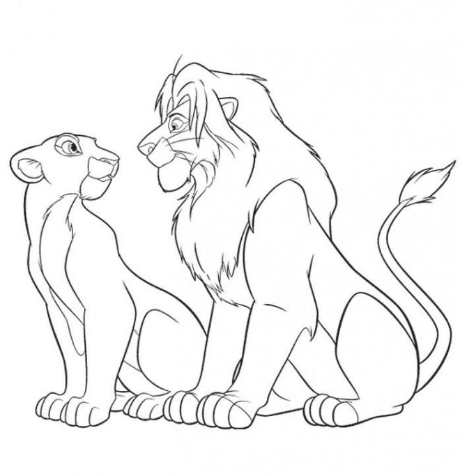 Coloriage et dessins gratuits Le Roi Lion et Nala se regardent à imprimer