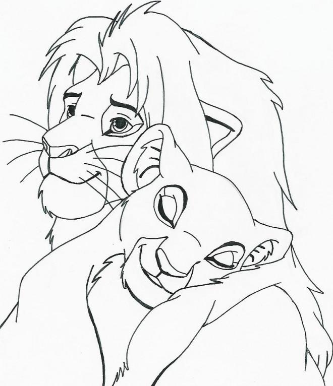 Coloriage et dessins gratuits Nala et le roi lion à imprimer