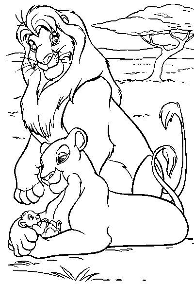 Coloriage et dessins gratuits Simba admire Nala à imprimer