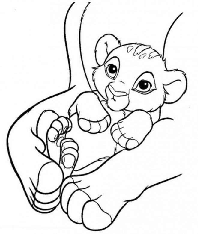 Coloriage et dessins gratuits Simba enfant en ligne à imprimer