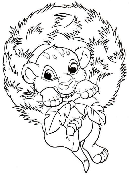 Coloriage Simba entour des feuilles