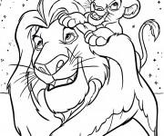 Coloriage et dessins gratuit Simba et le roi lion à imprimer