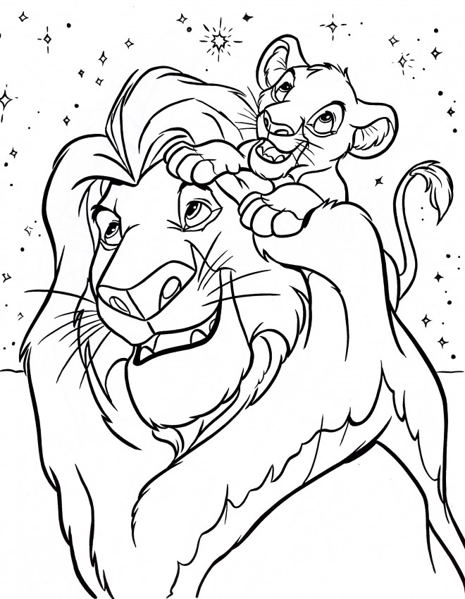 Coloriage simba et le roi lion dessin gratuit imprimer - Dessin simba roi lion ...