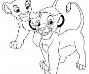Coloriage et dessins gratuit Simba et Nala bébé à imprimer