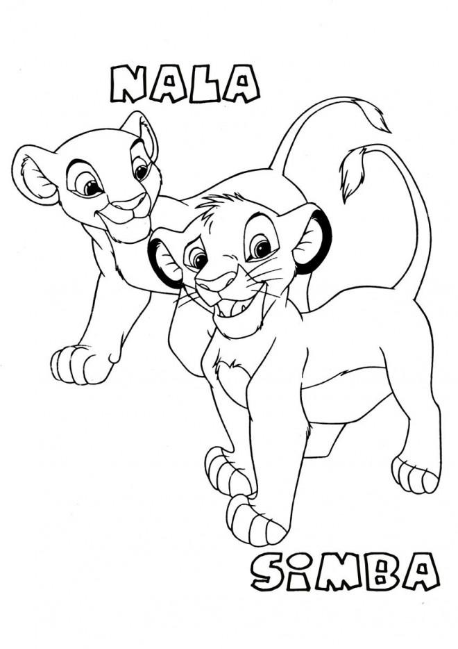Coloriage et dessins gratuits Simba et Nala bébé à imprimer