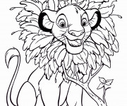 Coloriage Simba facile