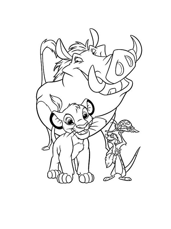 Coloriage et dessins gratuits Simba Pumba et Timon à imprimer