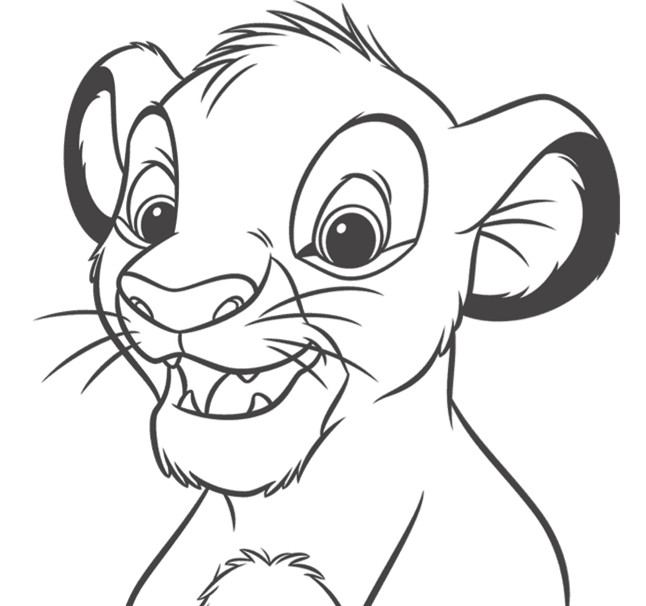 Coloriage simba simple colorier dessin gratuit imprimer - Photo de lion a imprimer en couleur ...