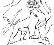 Coloriage et dessins gratuit Simba sur son rocher à imprimer