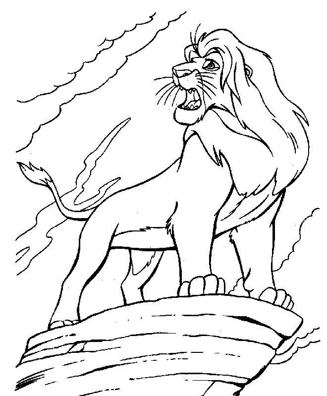 Coloriage et dessins gratuits Simba sur son rocher à imprimer