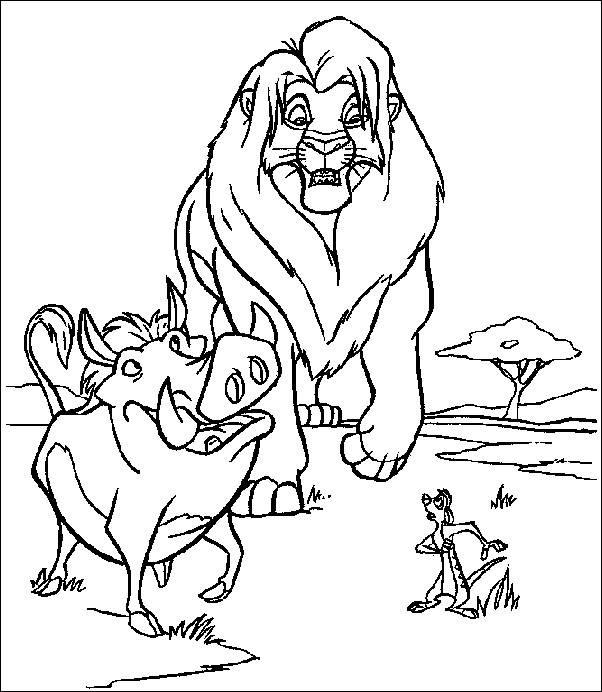 Coloriage et dessins gratuits Simba, Timon et Pumba en ligne à imprimer