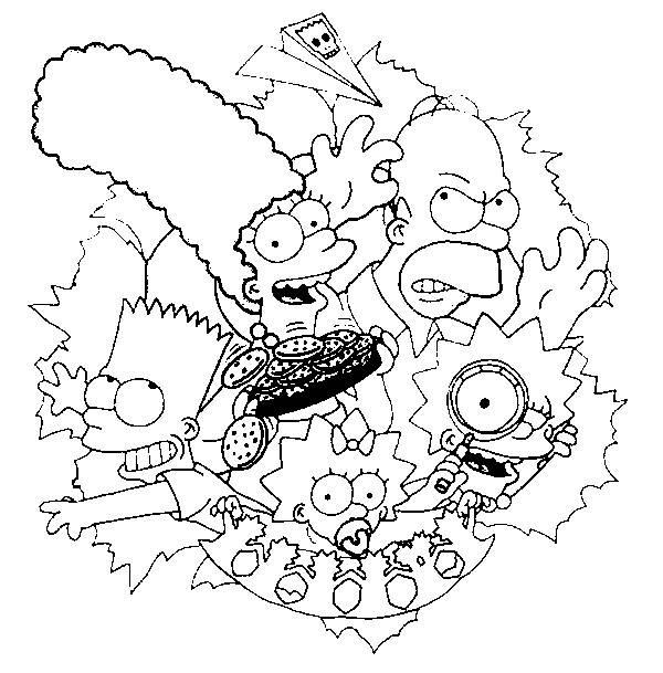 Coloriage La famille Simpson en portrait dessin gratuit à ...