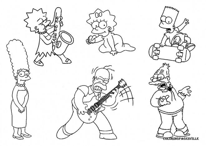 Coloriage La Famille Simpson Facile Dessin Gratuit A Imprimer