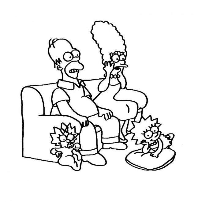 Coloriage et dessins gratuits La famille Simpson regarde une émission à imprimer
