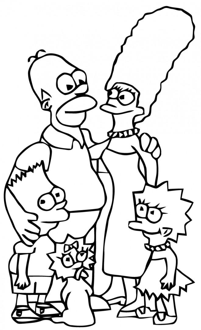 Coloriage Les Simpsons ensemble dessin gratuit à imprimer