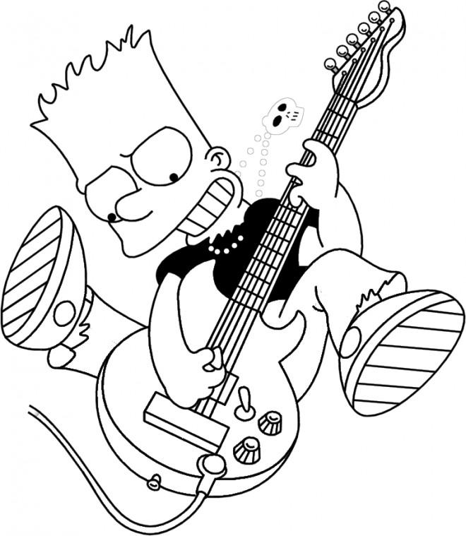 Coloriage simpson bart avec une guitar lectrique - Guitare simpson ...