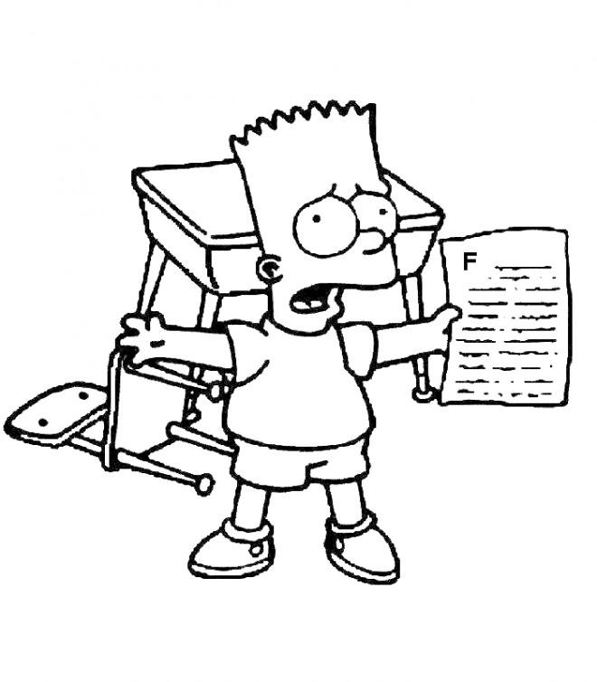 Coloriage et dessins gratuits Simpson Bart en colère de ses notes à imprimer