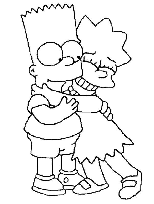 Coloriage et dessins gratuits Simpson Bart et Lisa à imprimer