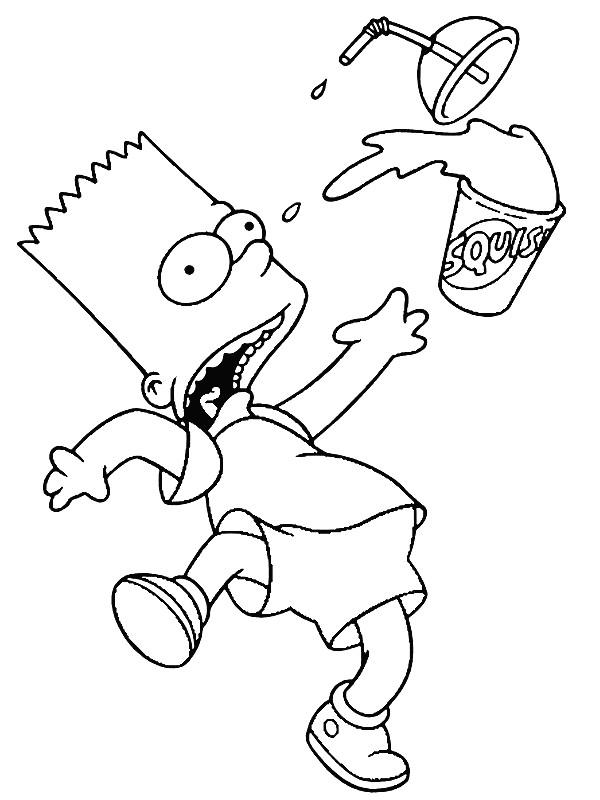 Coloriage et dessins gratuits Simpson Bart fait tomber son jus à imprimer