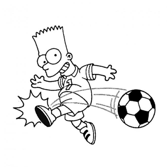 Coloriage et dessins gratuits Simpson Bart joue du foot à imprimer