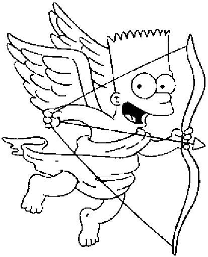 Coloriage Simpson Bart l'ange guardien dessin gratuit à imprimer