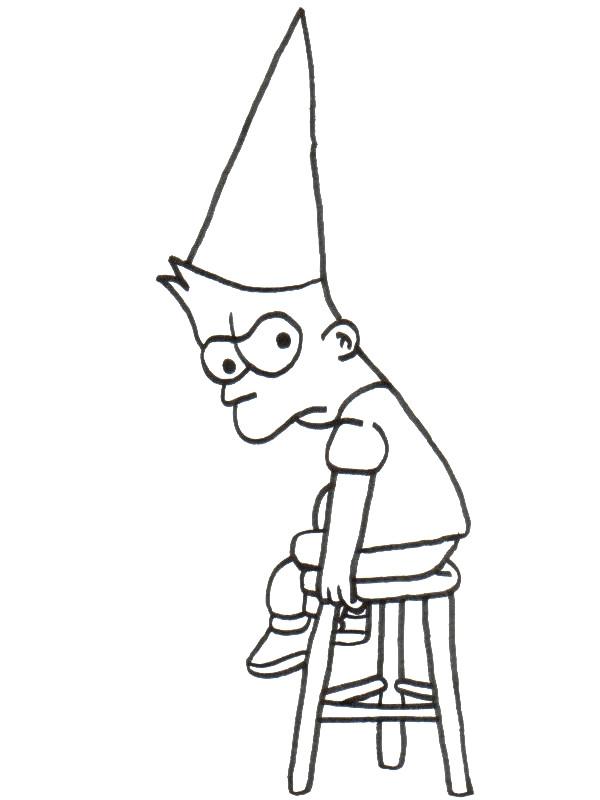 Coloriage et dessins gratuits Simpson Bart puni à imprimer
