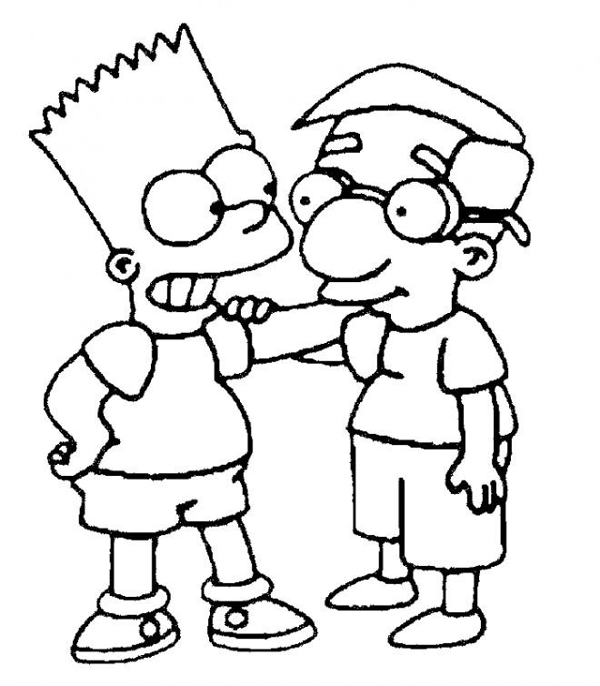 Coloriage et dessins gratuits Simpson et son ami à imprimer