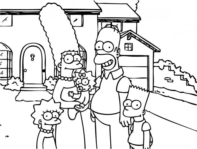 Coloriage et dessins gratuits Simpson famille devant leur maison à imprimer