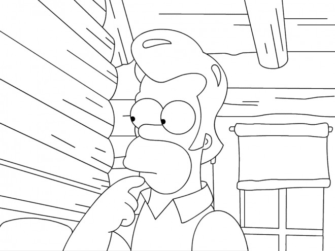 Coloriage et dessins gratuits Simpson Homer avec des cheveux à imprimer