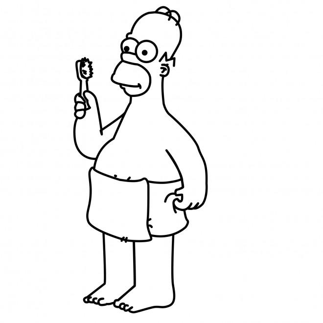 Coloriage et dessins gratuits Simpson Homer brosse ses dents à imprimer
