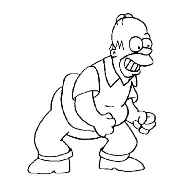 Coloriage et dessins gratuits Simpson Homer est excité à imprimer