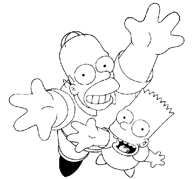 Coloriage et dessins gratuits Simpson Homer et Bart à imprimer