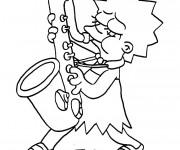 Coloriage et dessins gratuit Simpson Lisa joue au saxophone à imprimer