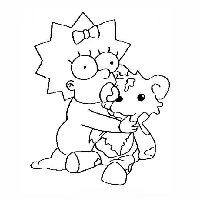 Coloriage et dessins gratuits Simpson Maggie joue avec sa  poupée à imprimer