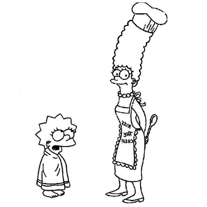 Coloriage simpson marge et lisa dessin gratuit imprimer - Marge simpson et bart ...