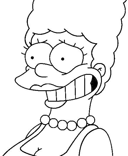 Coloriage et dessins gratuits Simpson Marge sourit à imprimer