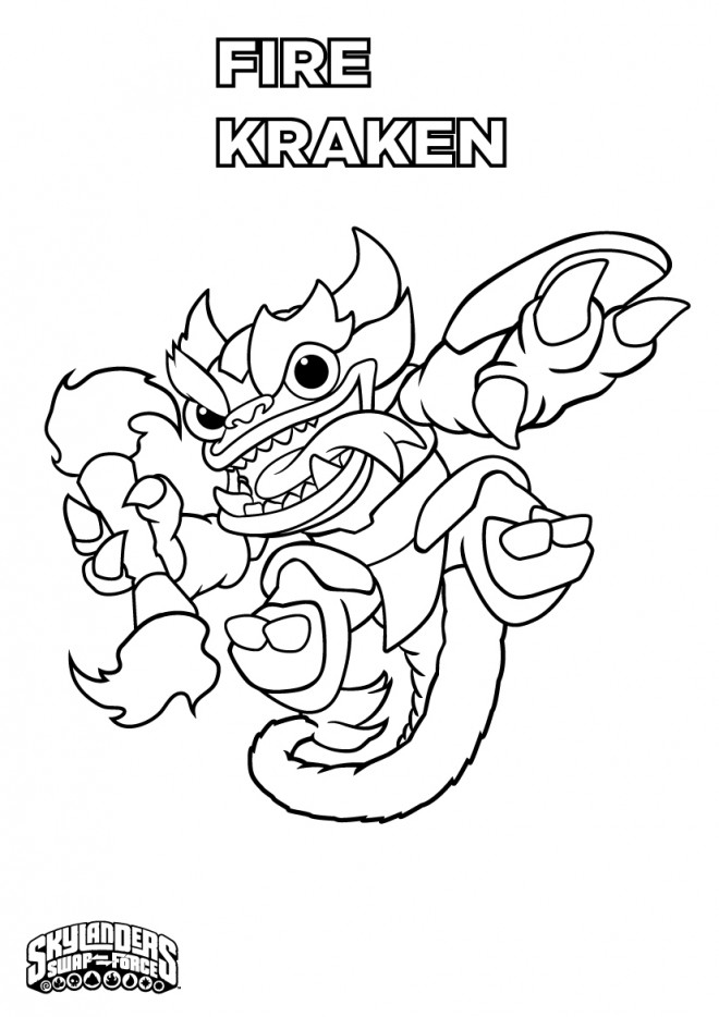 Coloriage et dessins gratuits Skylanders Fire Kraken à imprimer