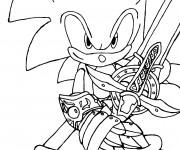 Coloriage et dessins gratuit Sonic avec épée à imprimer