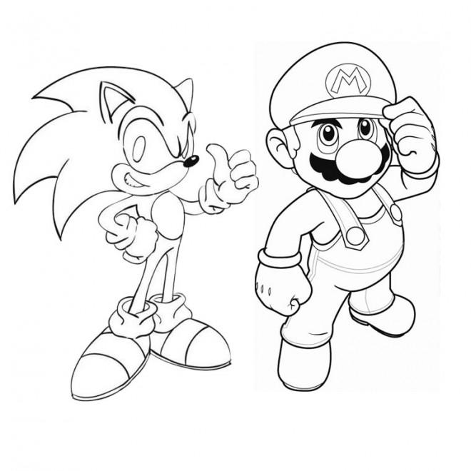 Coloriage et dessins gratuits Sonic et Mario à imprimer