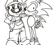 Coloriage et dessins gratuit Sonic et Mario amis à imprimer