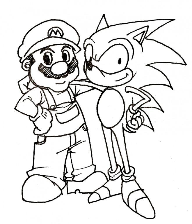 Coloriage Sonic Et Mario Amis Dessin Gratuit A Imprimer