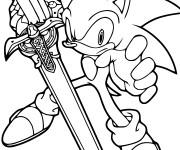 Coloriage Sonic tient une épée