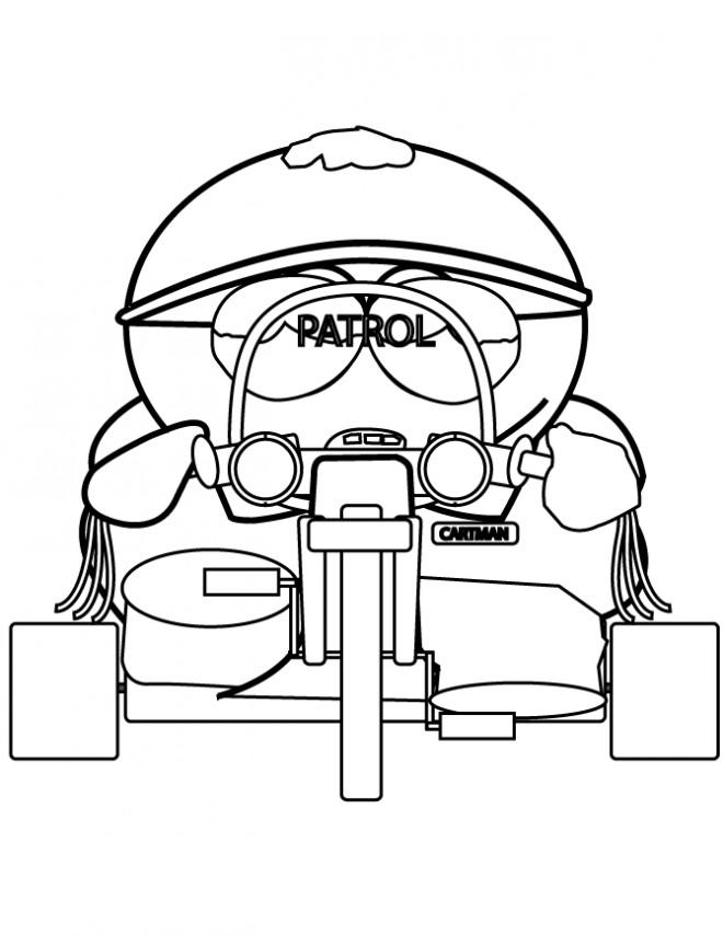 Coloriage et dessins gratuits Eric conduit son moto en couleur à imprimer