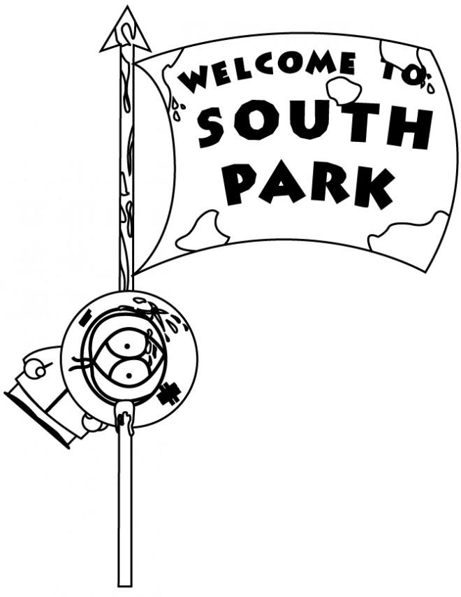 Coloriage et dessins gratuits Kenny sur drapeau humoristique à imprimer