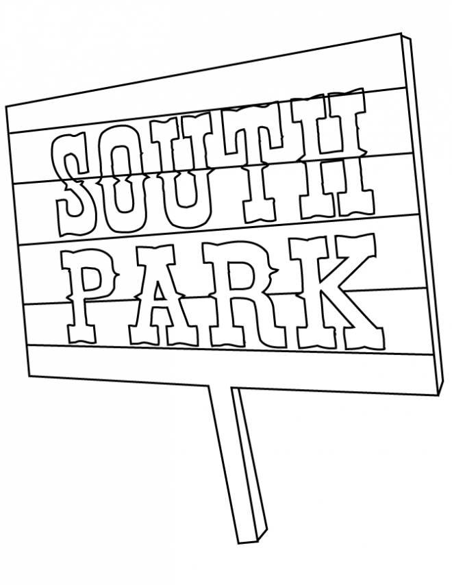 Coloriage et dessins gratuits Pancarte South Park à imprimer