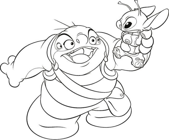 Coloriage et dessins gratuits Jumba Jookiba et Stitch en français à imprimer